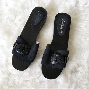 Free People Buckle Leather Wooden Clogs Sandals